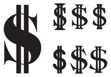 Set Of Flat Simple Us Dollar Sign Set.  Silhouette Vector Illustration Isolate On White Background