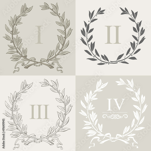 Fotografie, Obraz  Laurel wreath 1. Set of laurel wreaths vector.