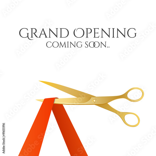 Grand opening invitation with gold scissors and red ribbon vector grand opening invitation with gold scissors and red ribbon vector stopboris Gallery