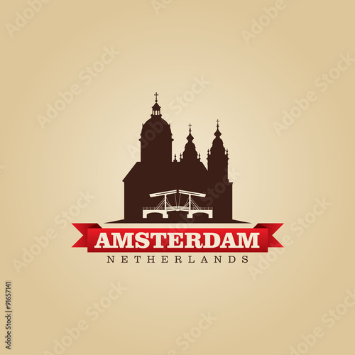 Photo  Amsterdam Netherlands city symbol vector illustration