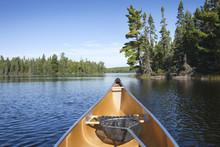 Canoe With Fishing Net On Northern Minnesota Lake