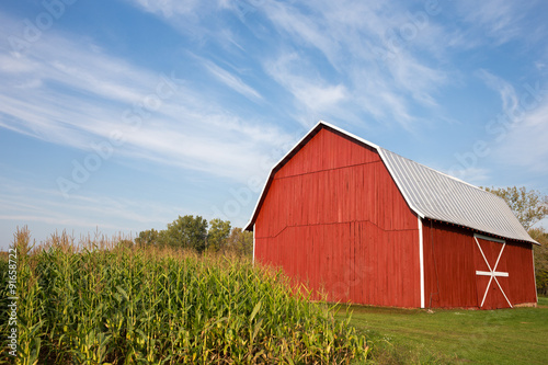 Fotografie, Obraz  Red Barn with Corn and Dramatic Sky