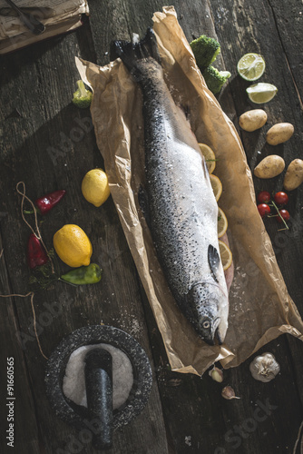 Poster  Preparing whole salmon fish for cooking