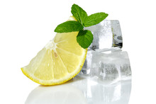 Lemon With Mint And Ice Cubes