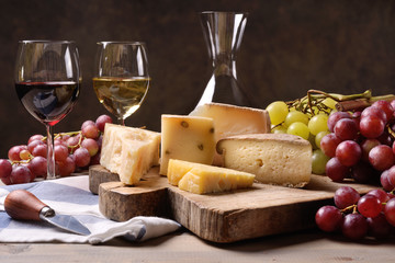 Fototapeta Wino Wine, grapes and cheese