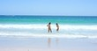 beautiful young woman swiming in ocean wearing bikini on tropical beach summer holiday,day,day
