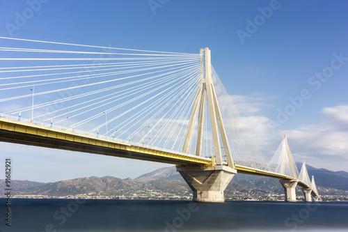 Valokuva  Suspension bridge crossing Corinth Gulf strait, Greece. Is the w