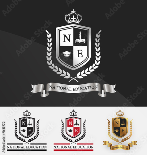 Fototapeta Shield and wreath laurel with crown crest logo design
