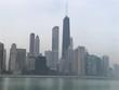 Medium shot of the Chicago skyline and lake Michigan.