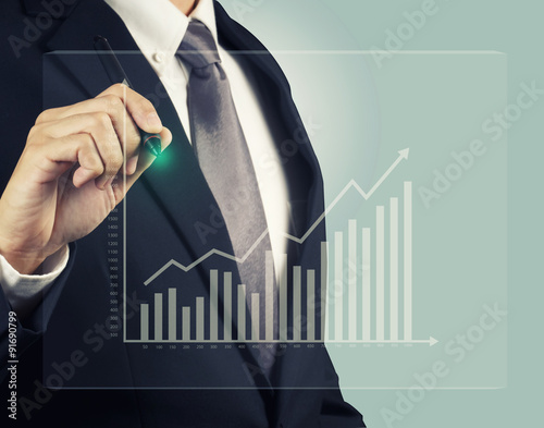 Fotografía  Businessman with stock investment graph take profit
