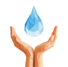Polygonal Hands Cupped Support Drop Of Water