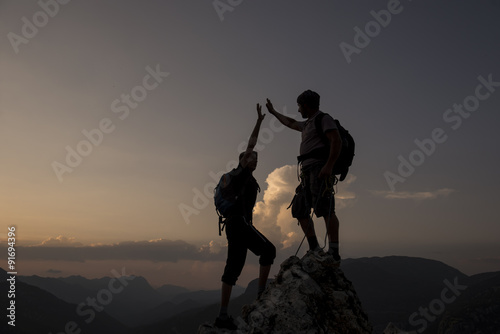 zirvede başarıyı kutlamak & zafer sevinci