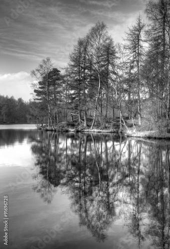 Photo Stands Dark grey High Dam in the Lake District, Cumbria, UK