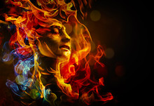 Illustration Of Woman's Face Made With Fire