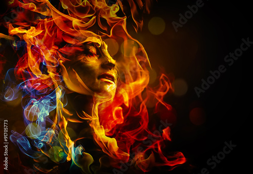 Poster Vlam Illustration of woman's face made with fire