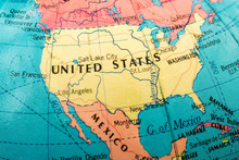 Macro Image Of A Map Of America