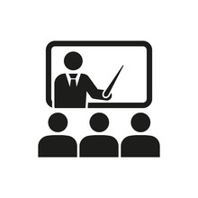The Training Icon. Teacher And Learner, Classroom, Presentation, Conference, Lesson, Seminar, Education Symbol. Flat
