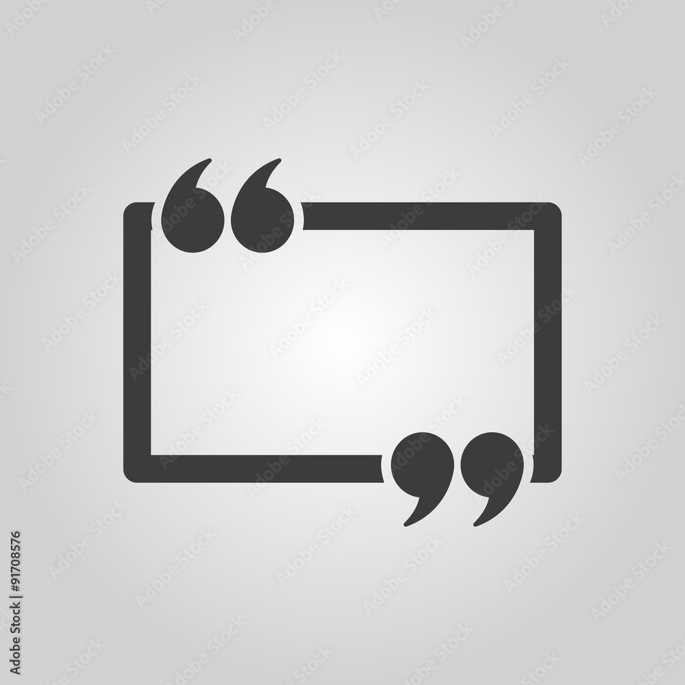 Fototapety, obrazy: The Quotation Mark Speech Bubble icon. Quotes, citation, opinion symbol. Flat