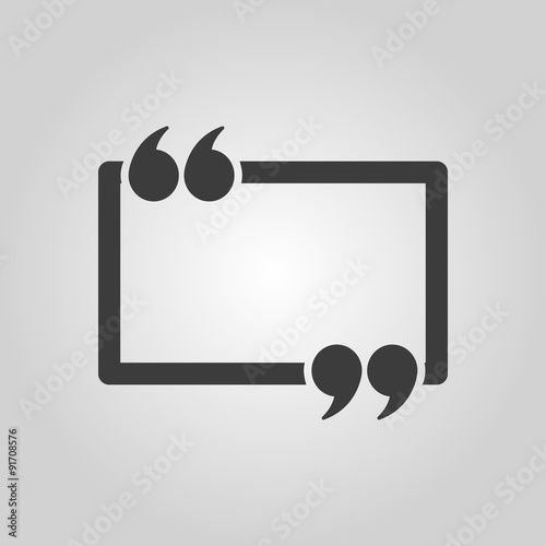Obraz The Quotation Mark Speech Bubble icon. Quotes, citation, opinion symbol. Flat - fototapety do salonu