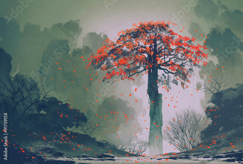 Fotobehang Khaki lonely red autumn tree with falling leaves in winter forest,landscape painting