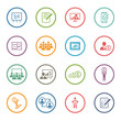 Leinwanddruck Bild - Business Coaching Icon Set. Online Learning. Flat Design.