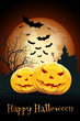 Leinwandbild Motiv Halloween Party Card with Pumpkins