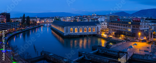 Panoramic of Geneva at the blue hour, the Seujet dam, the Rhone river and the ci Wallpaper Mural