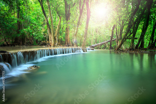 Fototapety, obrazy: beautiful landscape of hauy mae kamin water falls in pure and de