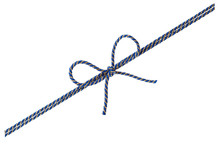 Blue String Or Twine Tied In A Bow Isolated On White Background For Your Design