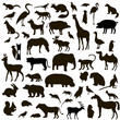Vector Set of Black Animals and Birds Silhouettes