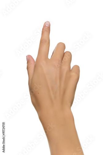 Foto  Frau Hand zeigt nach oben mit dem Zeigefinger