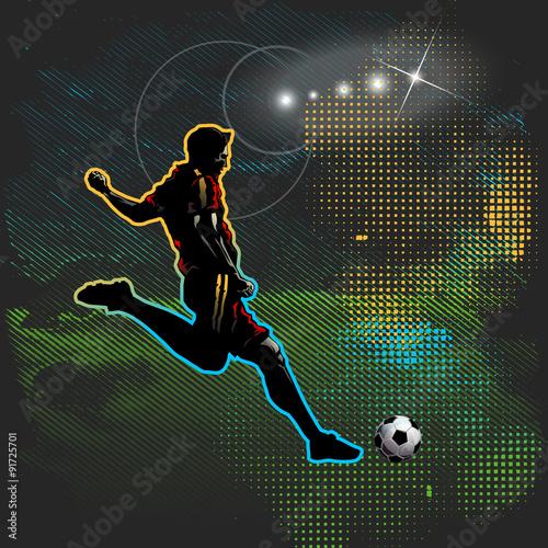 Football player shoots the ball - 91725701