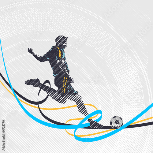 Juliste  Stylized football player shoots the ball
