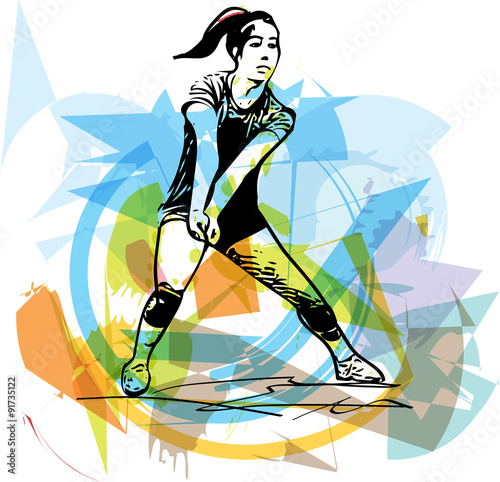 mata magnetyczna Illustration of volleyball player playing
