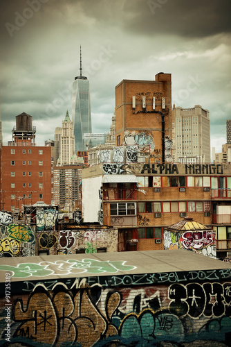 Graffiti and urban buildings in downtown Manhattan.