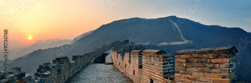 Poster Chinese Muur Great Wall sunset panorama