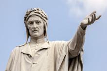 Statue Of Dante Alighieri In Naples, Italy