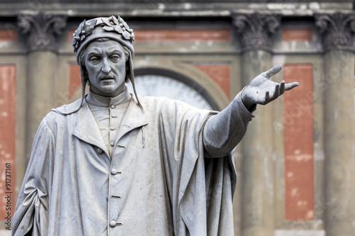 Foto op Canvas Napels Statue of Dante Alighieri in Naples, Italy