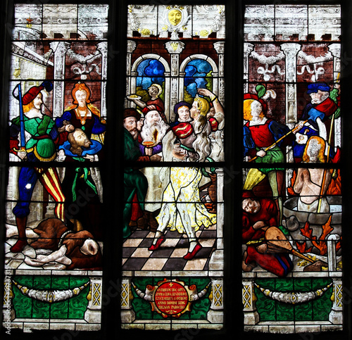 Stained Glass - Beheading of John the Baptist and Dance of Salome Wallpaper Mural