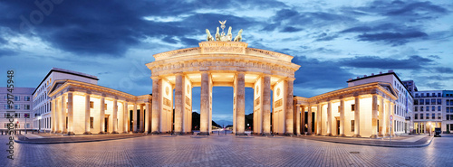 Spoed Foto op Canvas Berlijn Brandenburg Gate, Berlin, Germany - panorama