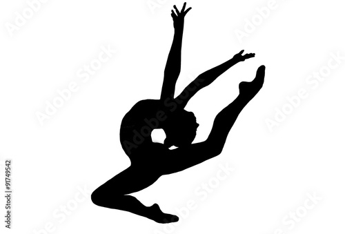 In de dag Gymnastiek Professional gymnast jumping, isolated figure on a white backgr