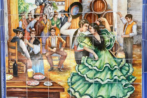 Fotografie, Obraz  Danseurs de flamenco sur du carrelage dans une rue de Seville