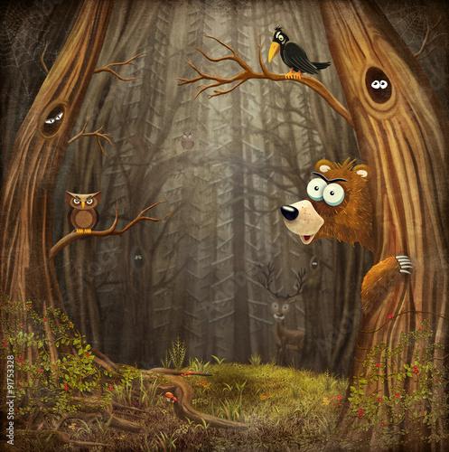 magiczny-krajobraz-lesny-z-niedzwiedziem-i-sowa-mroczne-tlo