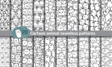 Cartoon Animal Seamless Patterns. Pattern Swatches Included For