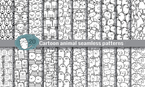 Photo  cartoon animal seamless patterns. pattern swatches included for