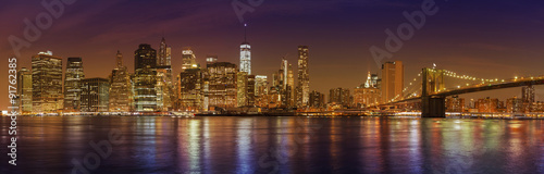 Manhattan skyline at night, New York City panoramic picture, USA