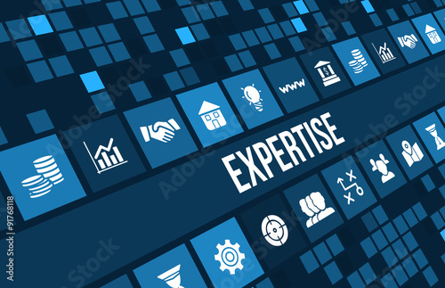Expertise concept image with business icons and copyspace