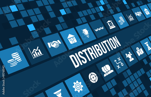 Fotografía  Distribution concept image with business icons and copyspace