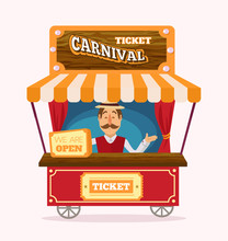 Ticket Booth. Vector Flat Illustration