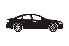 Icon Car Sedan Black On The Wh...